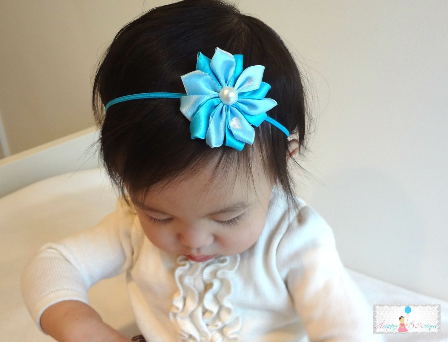 White Satin Flowers headbands - Happy BOWtique - children's clothing, Baby Girl clothing