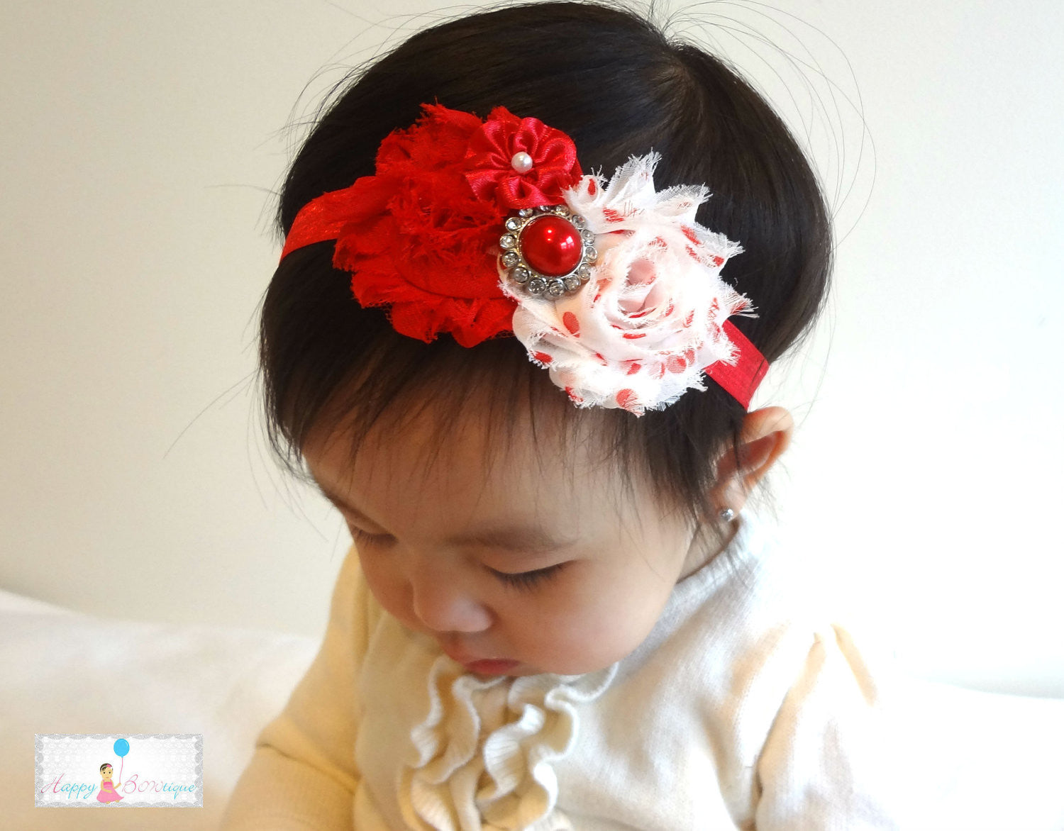Polka Dot Red Pearl Shabby Headband - Happy BOWtique - children's clothing, Baby Girl clothing