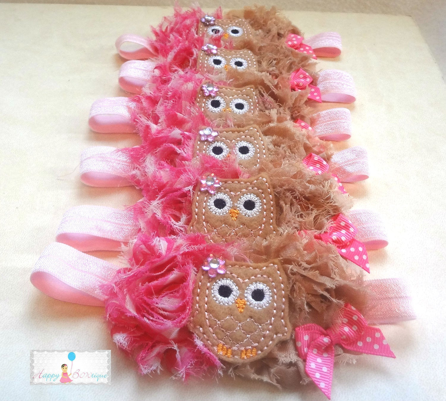 Brown Mustard Owl Headband - Happy BOWtique - children's clothing, Baby Girl clothing
