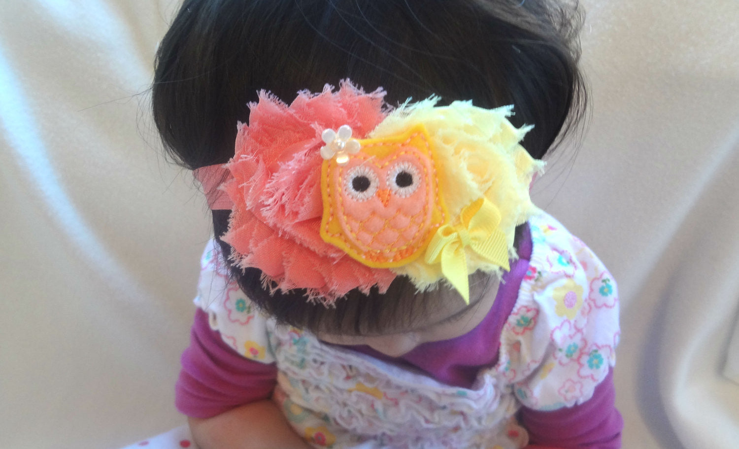 Peachy Coral Owl Girls Headband - Happy BOWtique - children's clothing, Baby Girl clothing
