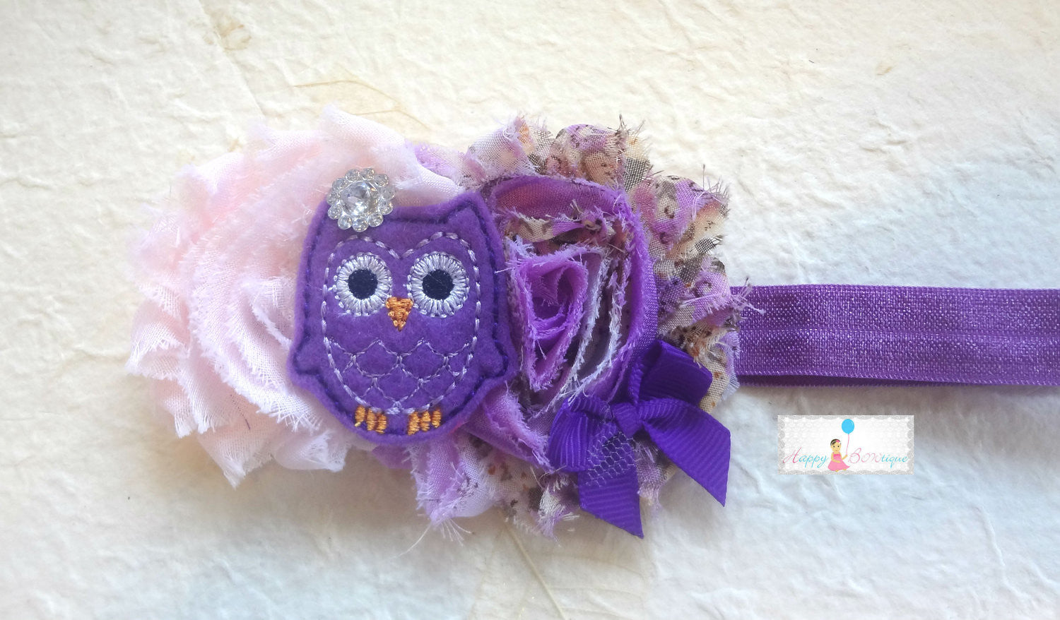 Purple Floral Owl Girls Headband - Happy BOWtique - children's clothing, Baby Girl clothing