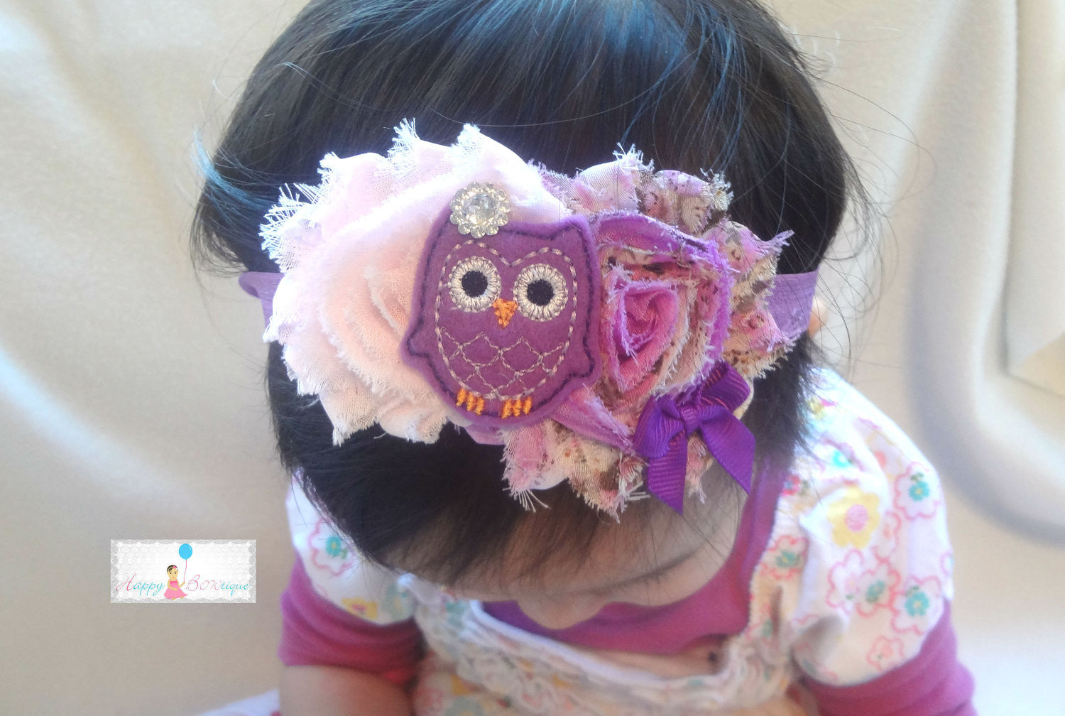 Pink Floral Mint Owl Girls Headband - Happy BOWtique - children's clothing, Baby Girl clothing