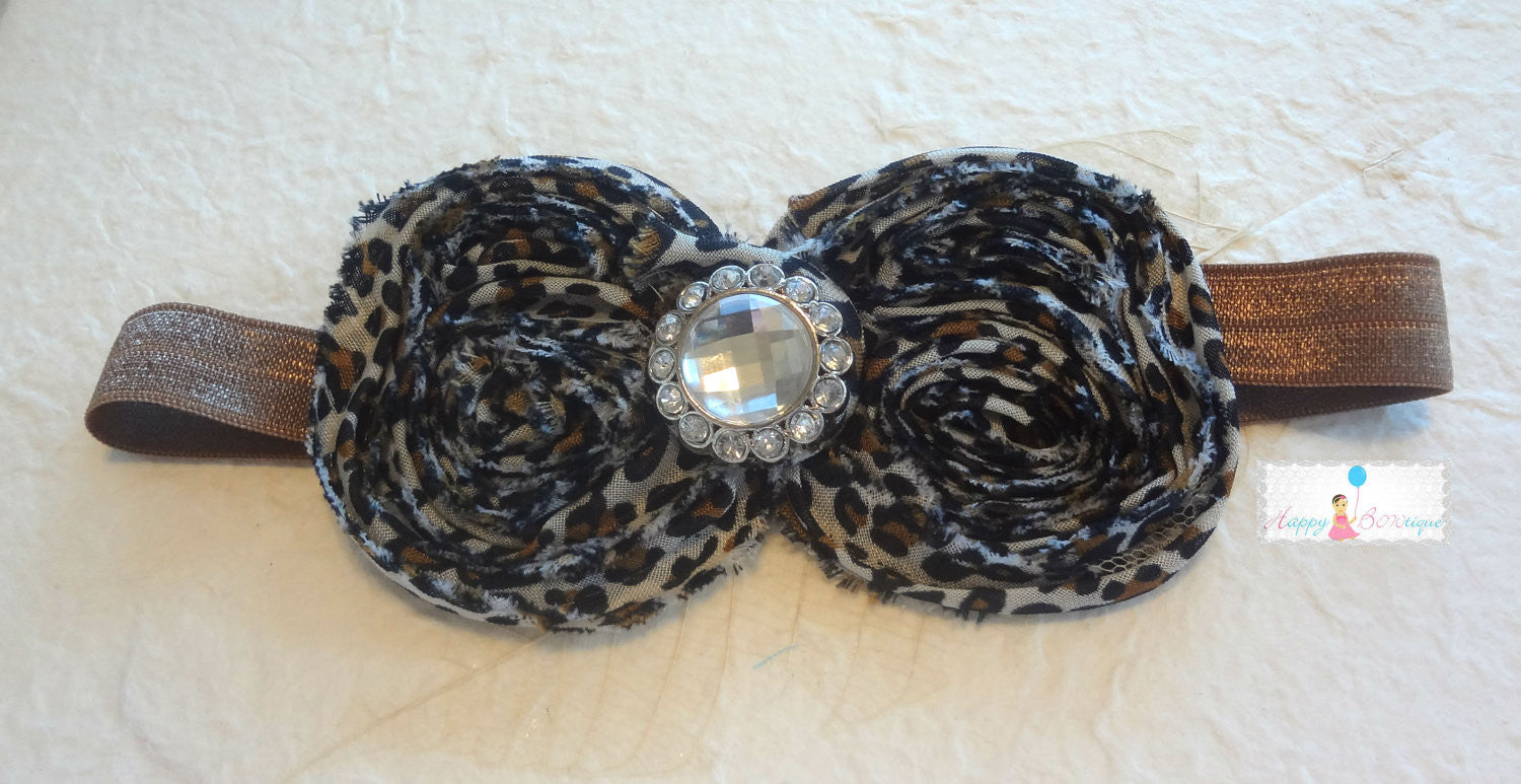 Large Shabby Chic Leopard Bow Headband - Happy BOWtique - children's clothing, Baby Girl clothing