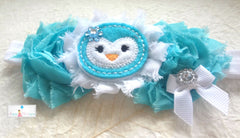 Aqua Blue Penguin Headband - Happy BOWtique - children's clothing, Baby Girl clothing