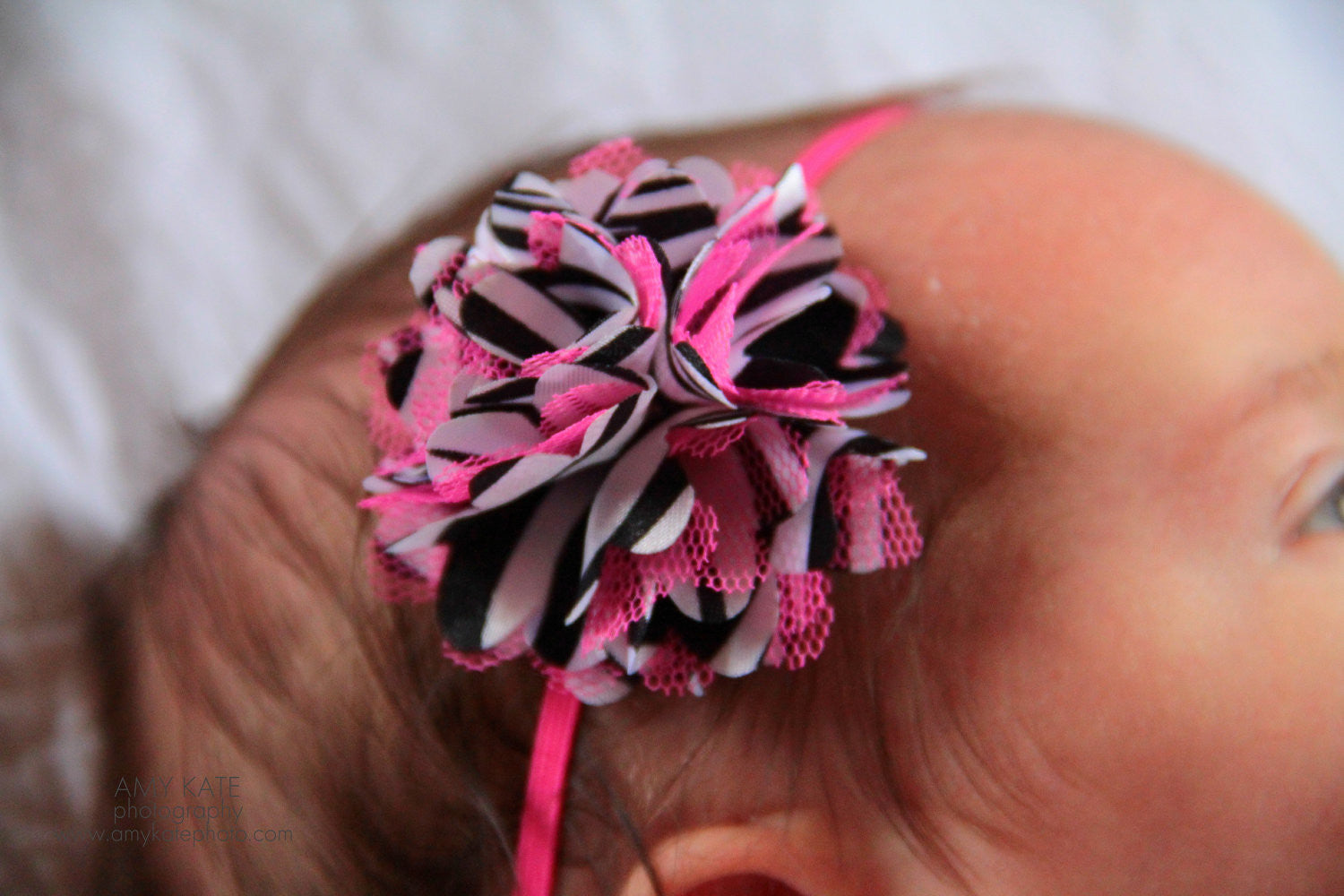 Petite Satin Hot PInk Zebra Mesh Puff baby headband - Happy BOWtique - children's clothing, Baby Girl clothing
