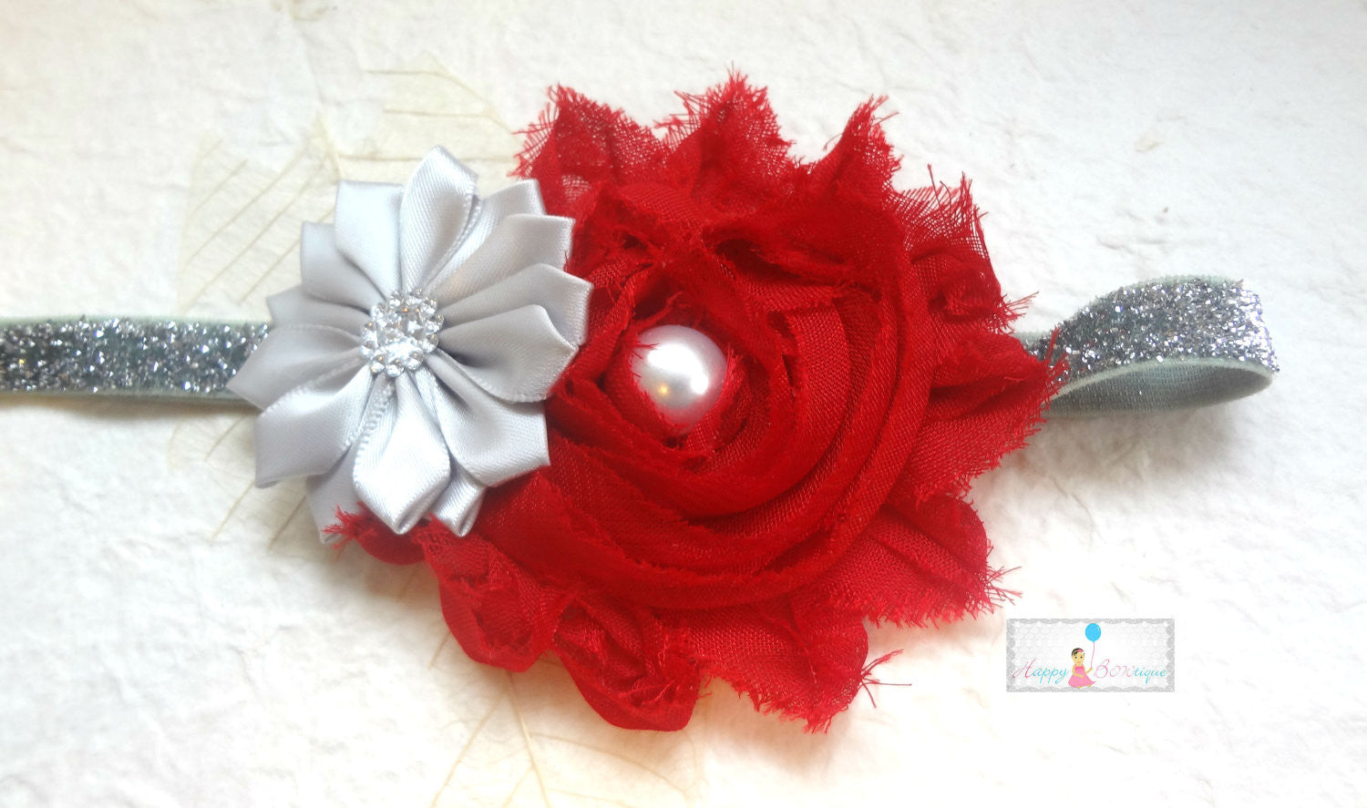 Silver Red Satin Shabby holiday headband - Happy BOWtique - children's clothing, Baby Girl clothing