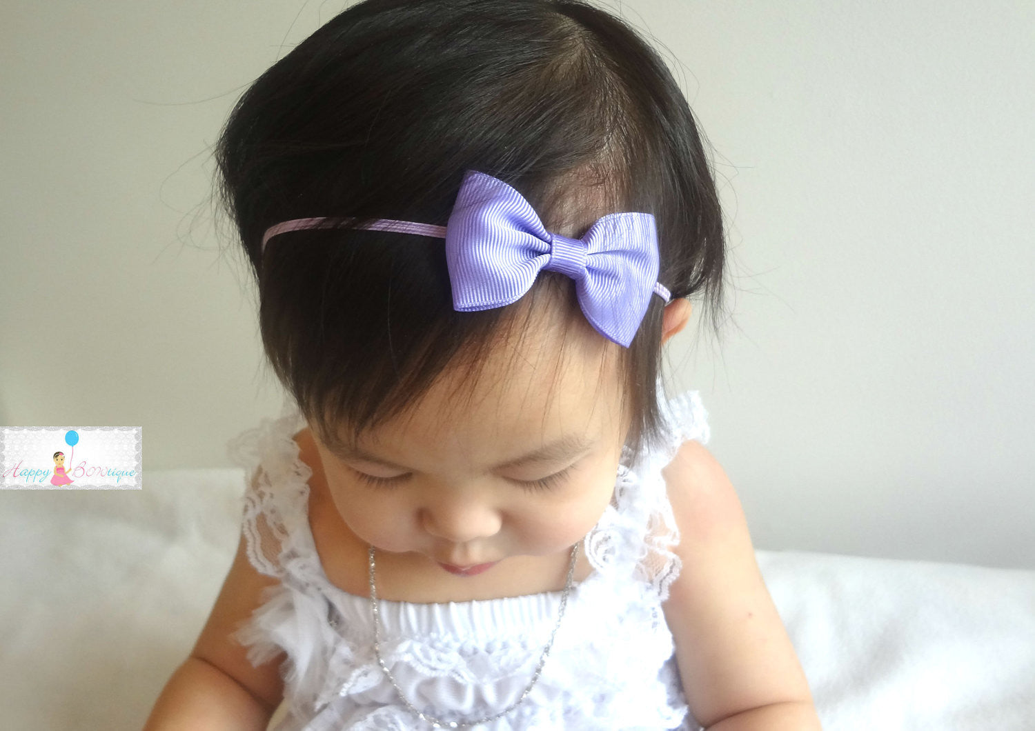 Lavender Bow Headband - Happy BOWtique - children's clothing, Baby Girl clothing
