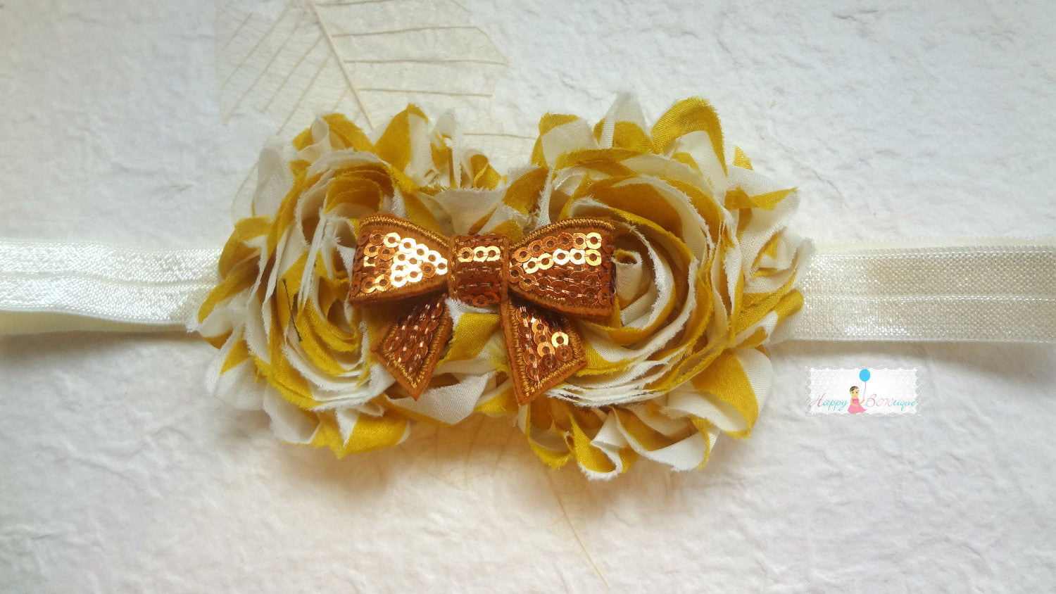 Duo Shabby Mustard Stripes Pearl Headband - Happy BOWtique - children's clothing, Baby Girl clothing