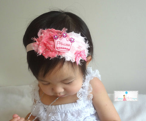 Baby Girl's Easter Headband / Girl's Shabby Bunny Pink and Grey headband