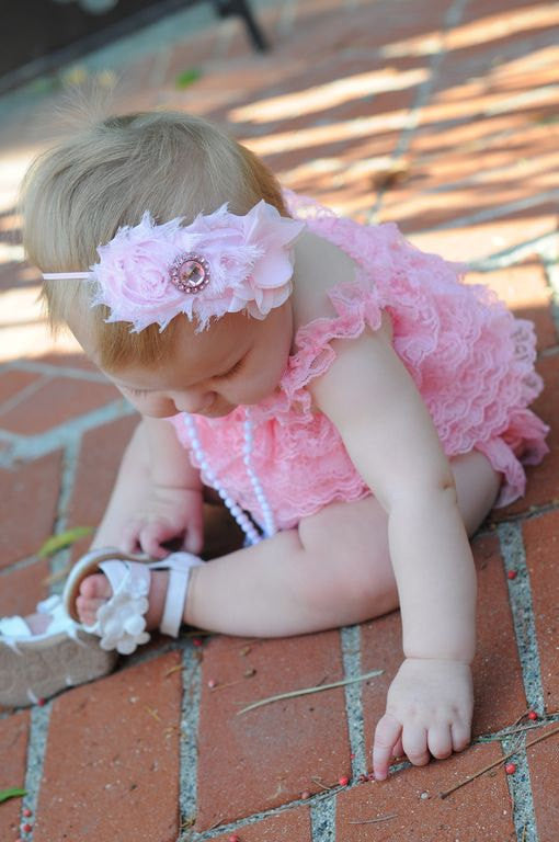 Trio Shabby and Chiffon Pink Girls Headband - Happy BOWtique - children's clothing, Baby Girl clothing