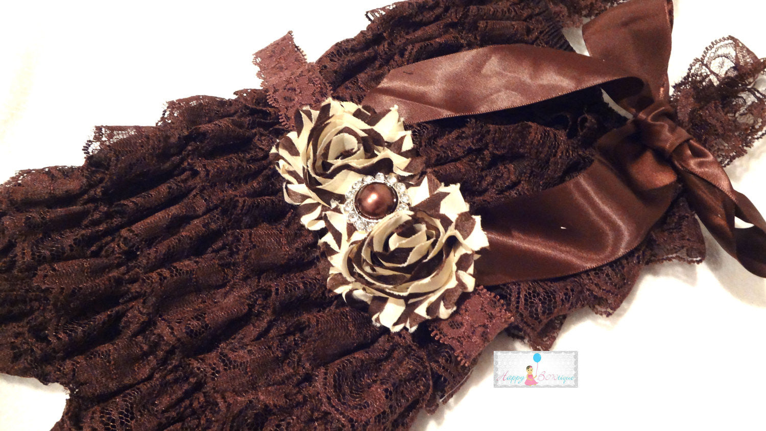 Gorgeous Mocha Stripes Duo Shabby Headband - Happy BOWtique - children's clothing, Baby Girl clothing