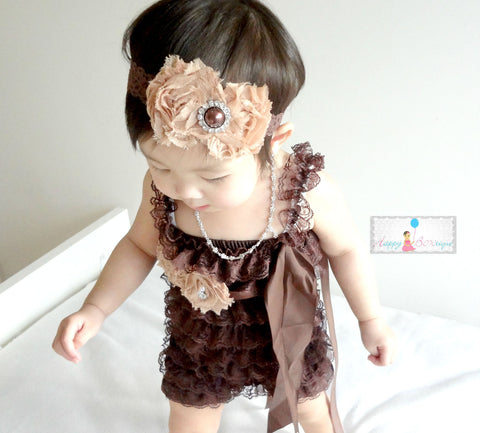 Chocolate Tan Lace Petti Romper set - Happy BOWtique - children's clothing, Baby Girl clothing