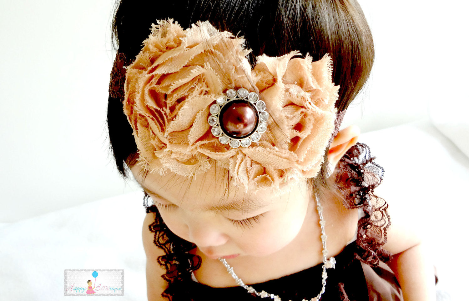 Gorgeous Tan Duo Shabby Headband - Happy BOWtique - children's clothing, Baby Girl clothing