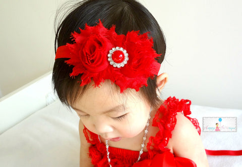 Shabby Duo Red baby Girls headband - Happy BOWtique - children's clothing, Baby Girl clothing