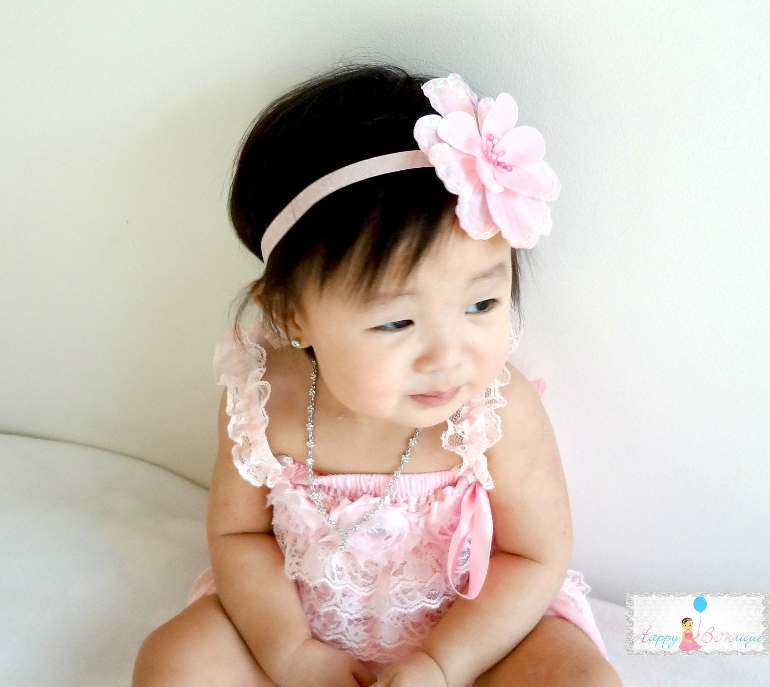 Baby Pink Large Sequin Silk Flowers headband - Happy BOWtique - children's clothing, Baby Girl clothing