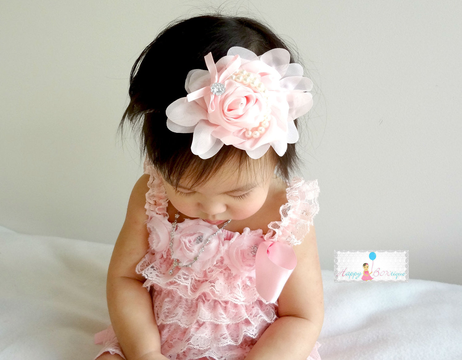 Beautiful Baby PInk Chiffon Rosette Pearls headband - Happy BOWtique - children's clothing, Baby Girl clothing