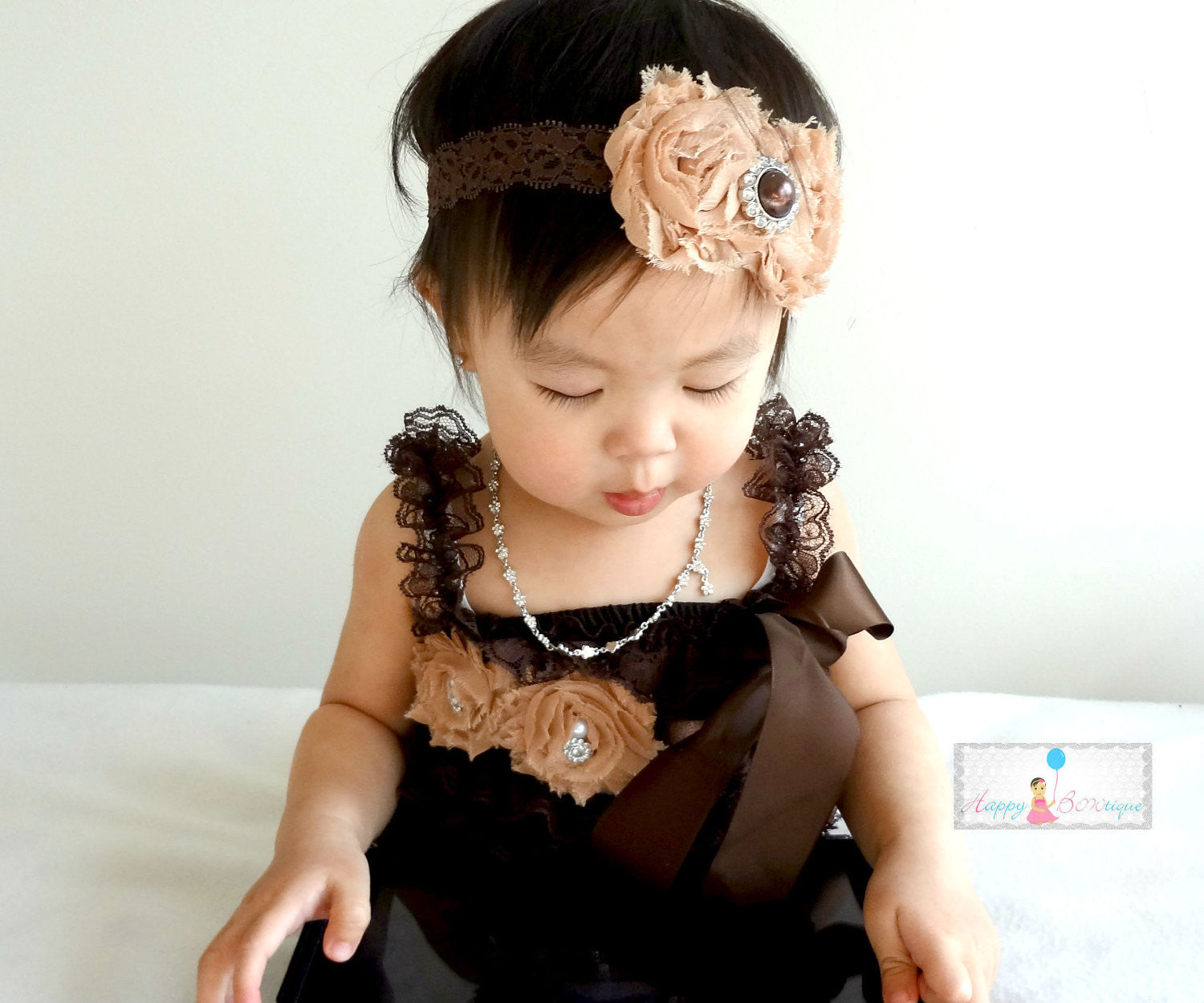 Rich Chocolate Brown Petti Lace Romper - Happy BOWtique - children's clothing, Baby Girl clothing