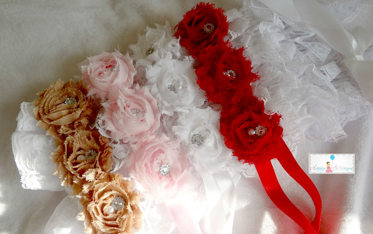 Baby Flower Sash / Baby Girl Flower sash MTM Petti Rompers, - Happy BOWtique - children's clothing, Baby Girl clothing