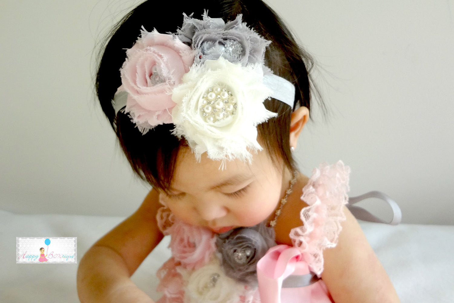 Baby Girl's Easter headband/ Trio Shabby Cluster Lavender Girl's headband - Happy BOWtique - children's clothing, Baby Girl clothing