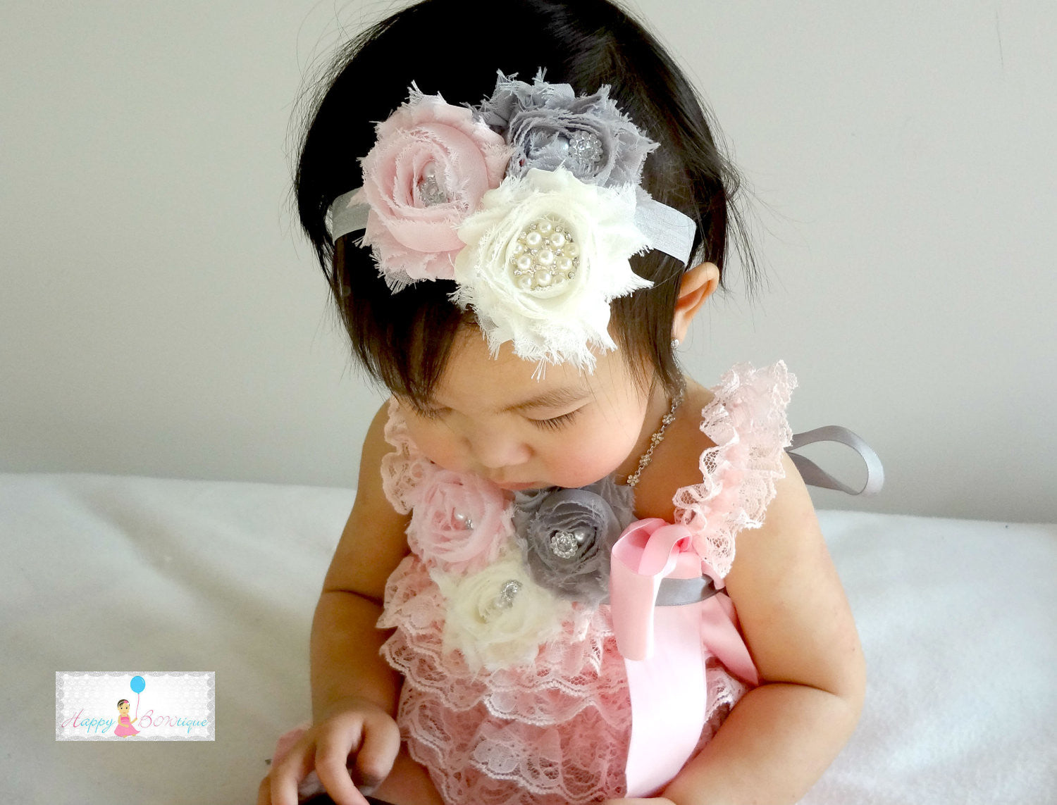 3pcs Ivory Pink Grey Lace Petti Romper, baby Girl Romper- Happy Bowtique