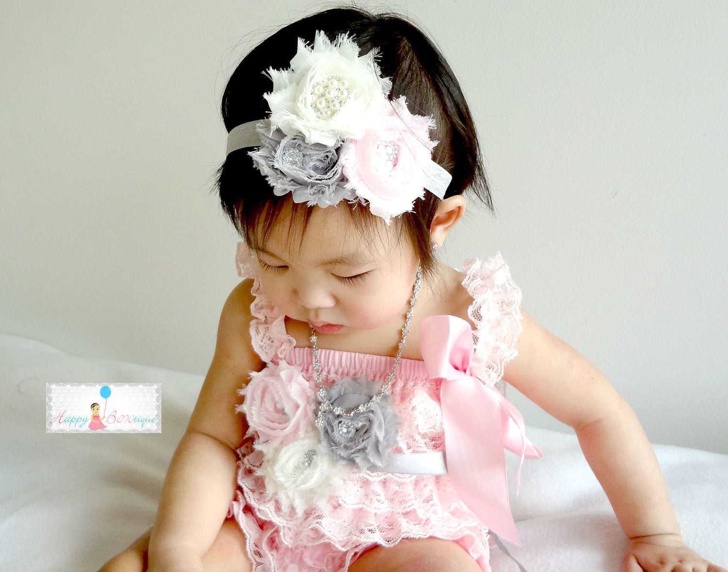 Blush Champagne & Ivory Lace Petti Romper - Happy BOWtique - children's clothing, Baby Girl clothing