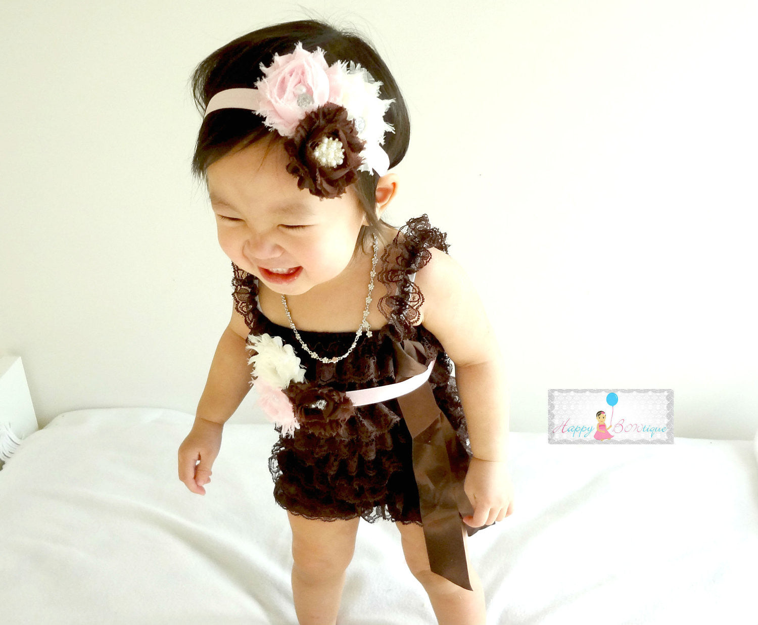 Ivory Chocolate Pink Petti Lace Romper Set ~ Baby Girl Brown Lace Romper, Happy Bowtique