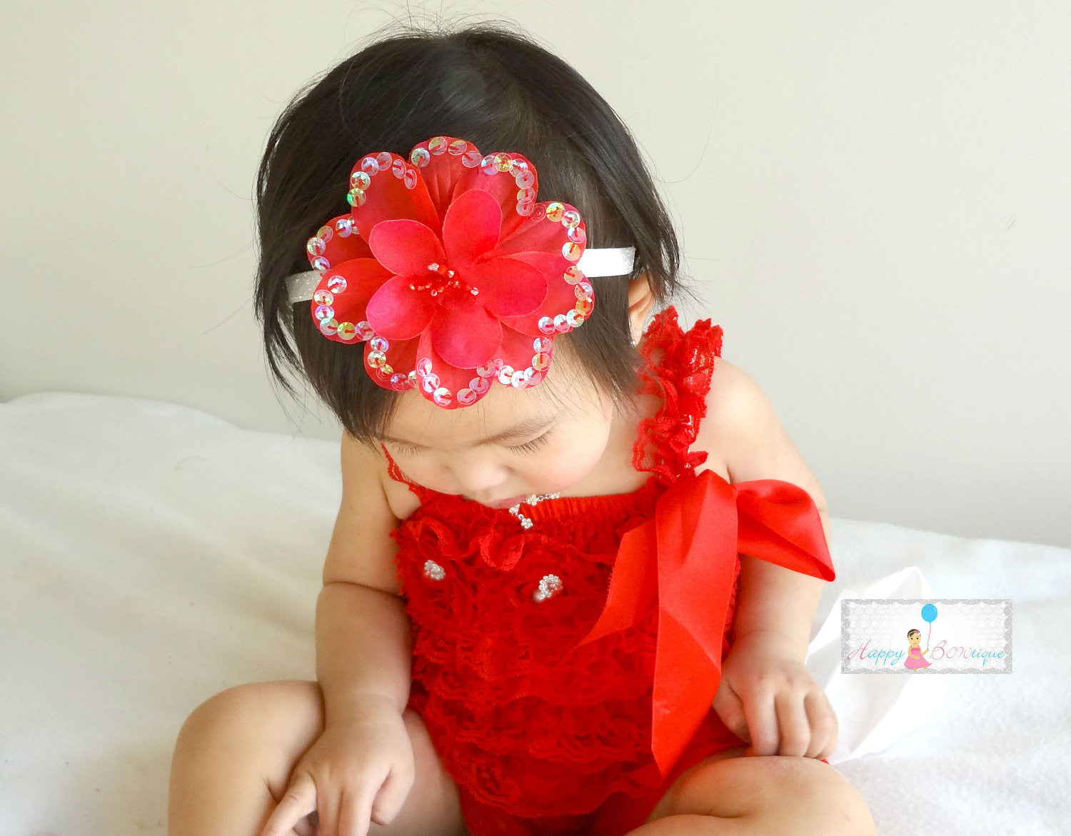 Red Large Sequin Silk Flowers headband - Happy BOWtique - children's clothing, Baby Girl clothing