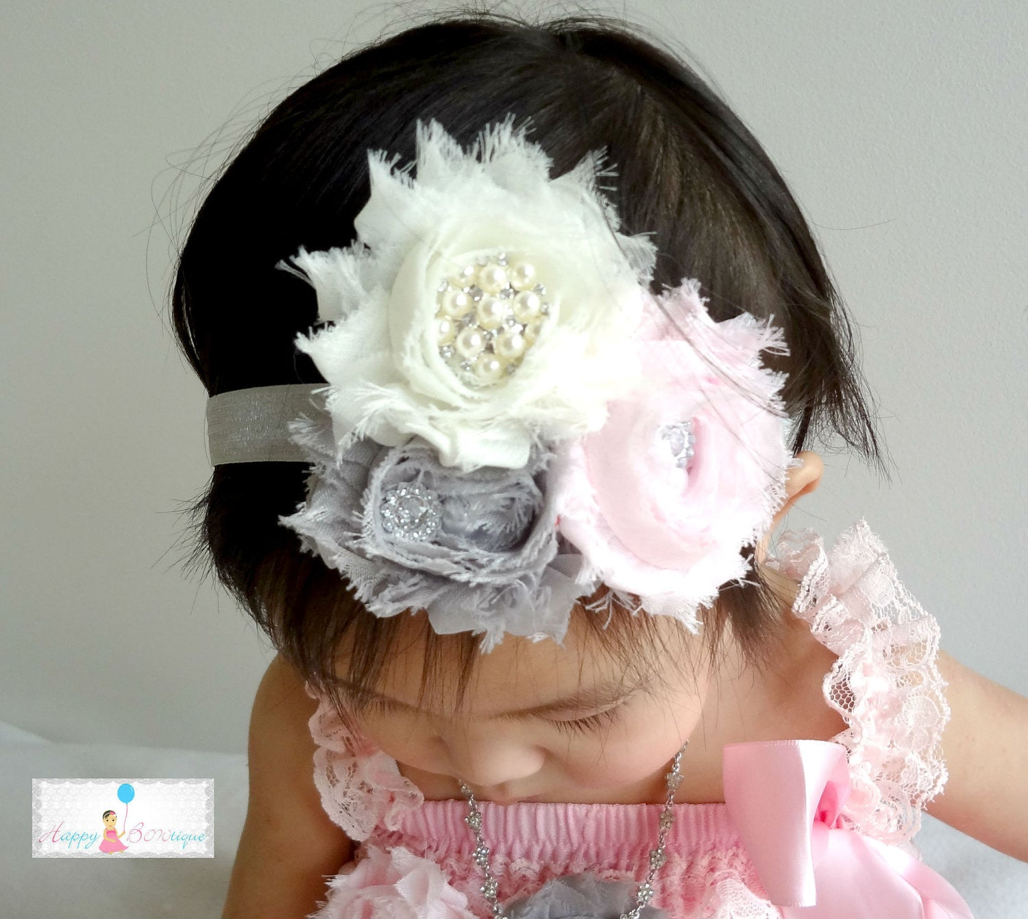 Trio Cluster headband Grey Pink and Ivory ~ Baby girl Pink Headband - Happy BOWtique - children's clothing, Baby Girl clothing