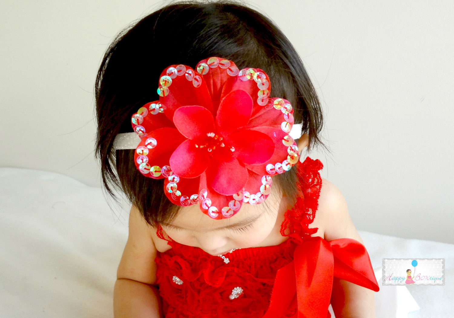 Hot Pink Large Sequin Silk Flowers headband - Happy BOWtique - children's clothing, Baby Girl clothing
