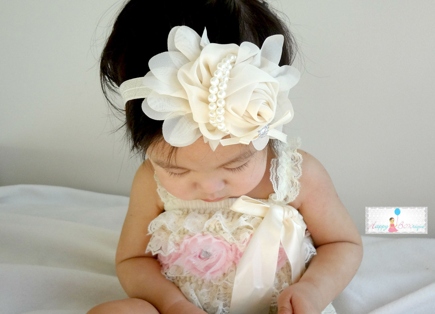 Silver Grey Chiffon Rosette headband - Happy BOWtique - children's clothing, Baby Girl clothing