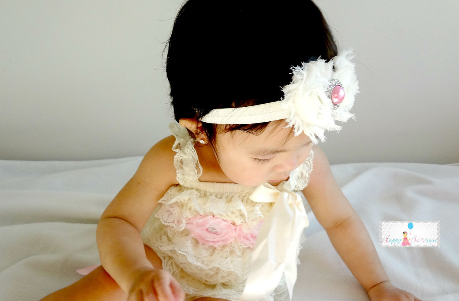 Ivory Blush Pink Romper set - Happy BOWtique - children's clothing, Baby Girl clothing