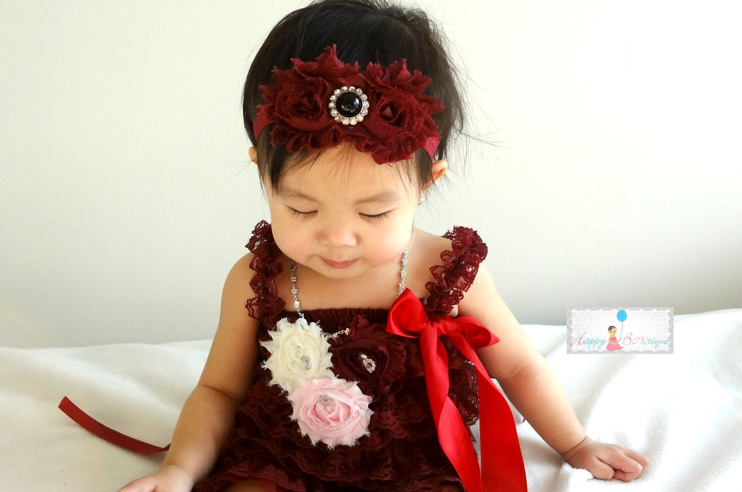 Rich Maroon Wine Duo Shabby Black Rhinestone Headband - Happy BOWtique - children's clothing, Baby Girl clothing