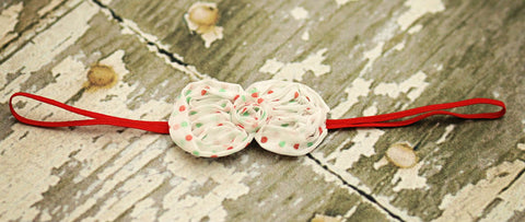 Petite Christmas Dots Chiffon Bow Headband - Happy BOWtique - children's clothing, Baby Girl clothing