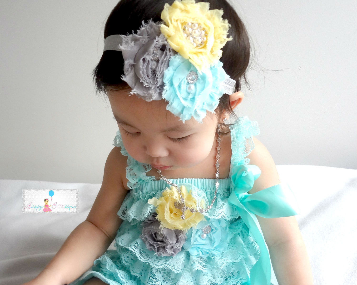 Light Aqua Lace Petti Romper - Happy BOWtique - children's clothing, Baby Girl clothing