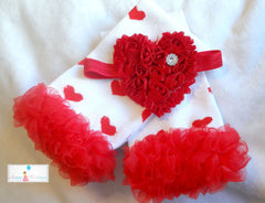 Hot Pink Hearts Ruffle leg warmers set - Happy BOWtique - children's clothing, Baby Girl clothing