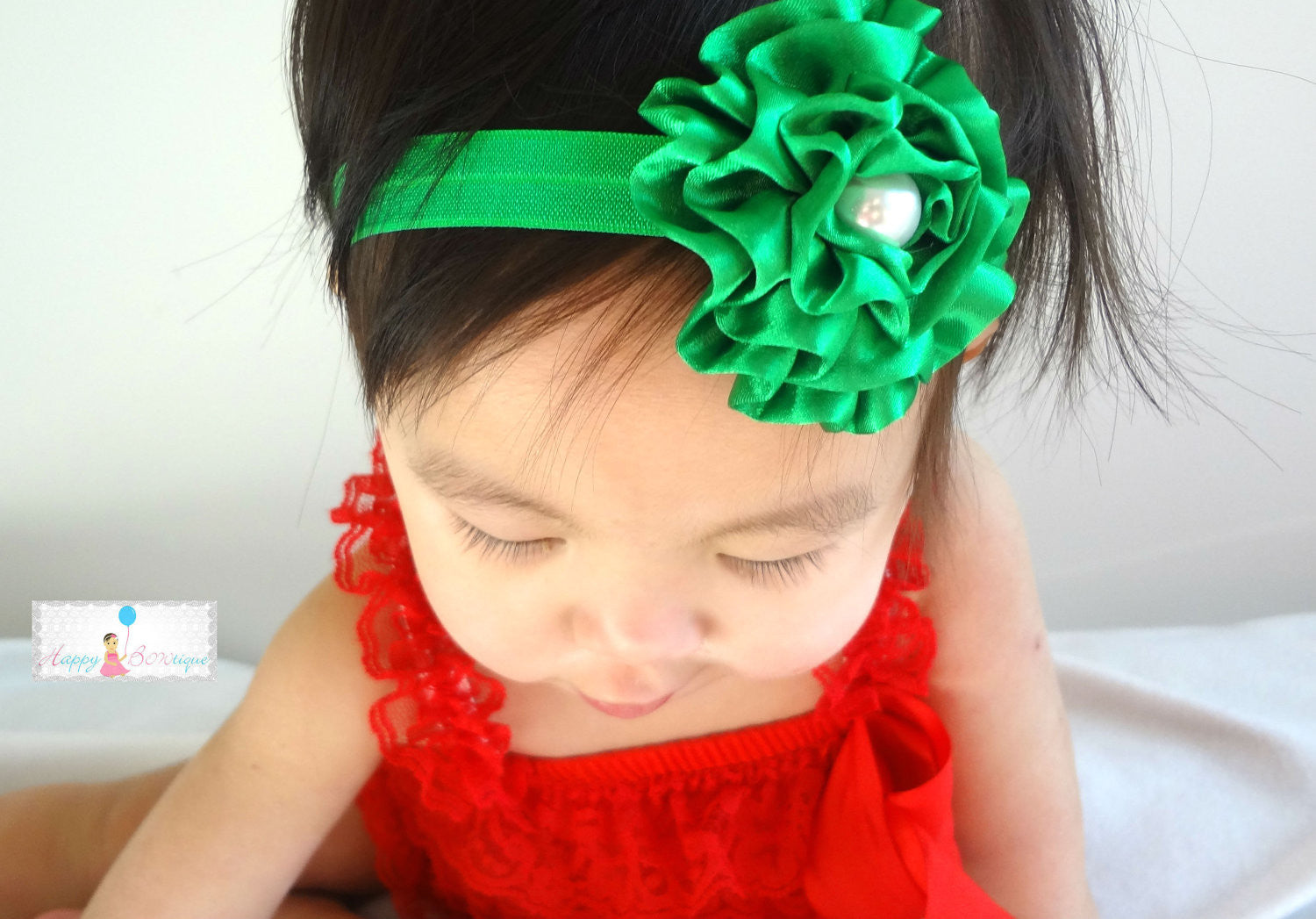 Green Satin Cabbage Rose baby headband, Christmas Baby headbands, Baby Girl Headband, Newborn headband, - Happy BOWtique - children's clothing, Baby Girl clothing