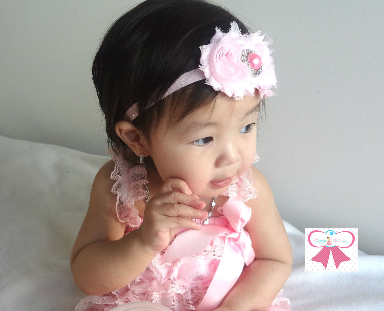 Duo Shabby Baby Pink Headband - Happy BOWtique - children's clothing, Baby Girl clothing