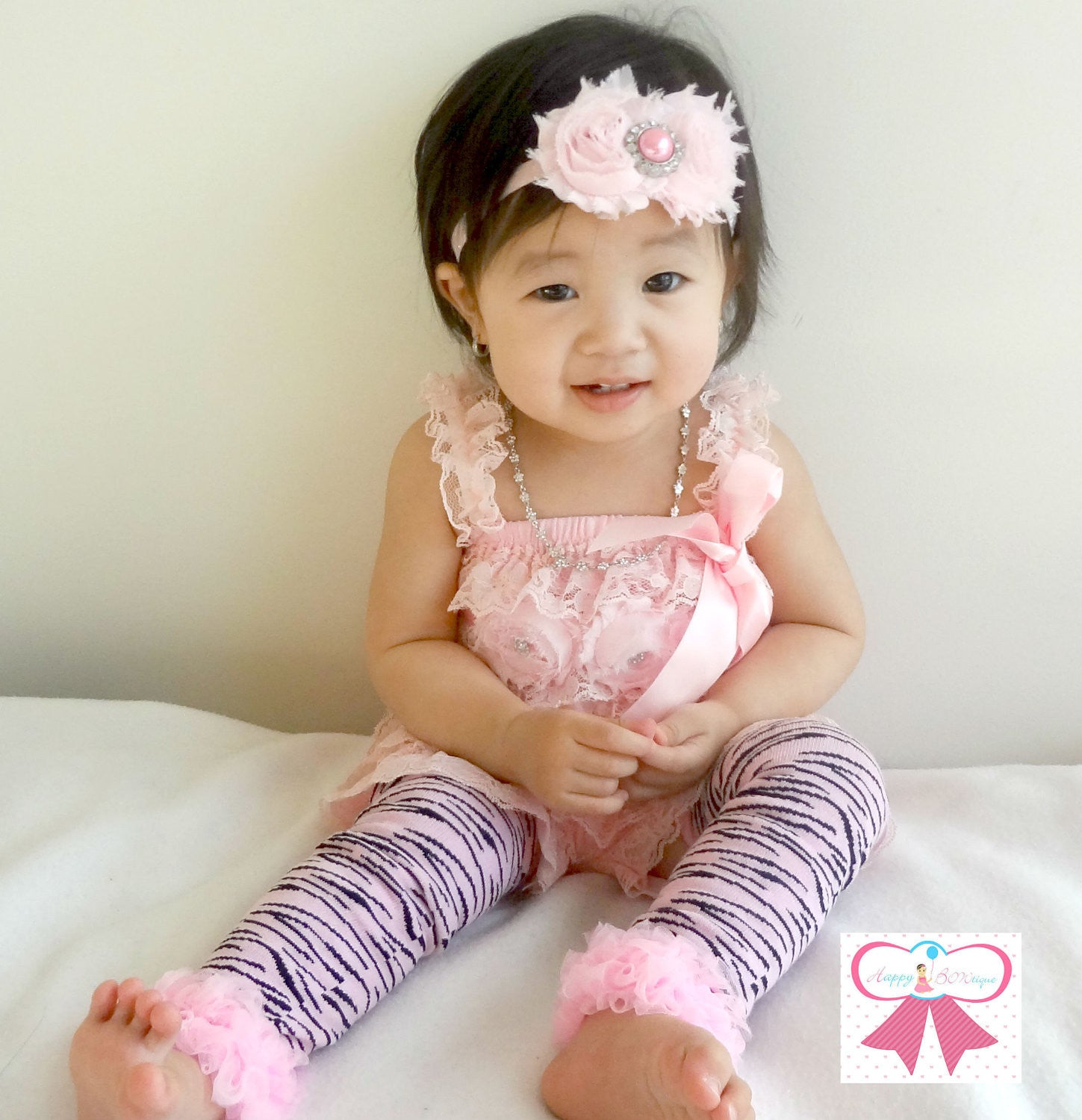 Baby Pink Zebra Lace Petti Romper set - Happy BOWtique - children's clothing, Baby Girl clothing