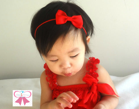 Girl's Valentine's Day Headband/ Baby Red Bow Headband - Happy BOWtique - children's clothing, Baby Girl clothing