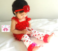 Red Lace Petti Romper - Happy BOWtique - children's clothing, Baby Girl clothing