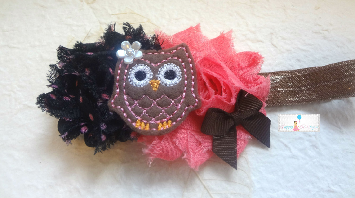Hot Pink Lime Owl Headband - Happy BOWtique - children's clothing, Baby Girl clothing