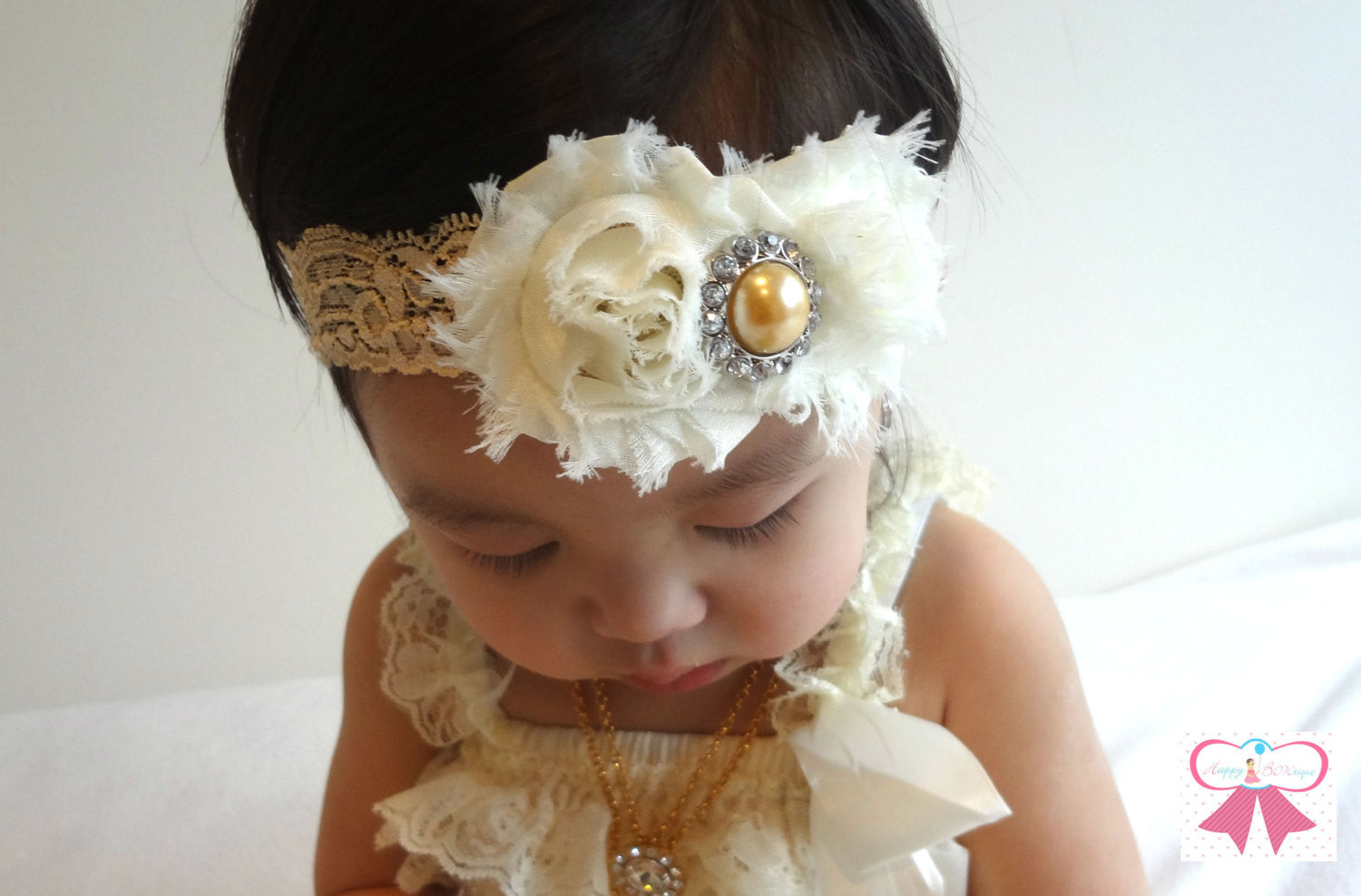 Duo Ivory Champagne Headband - Happy BOWtique - children's clothing, Baby Girl clothing