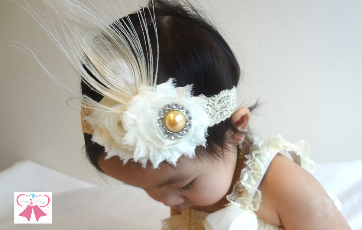 Champagne Peacock Headband - Happy BOWtique - children's clothing, Baby Girl clothing