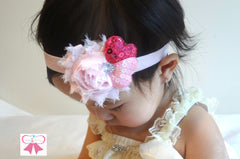 Valentine headband, Pink Shabby Sequin heart headband - Happy BOWtique - children's clothing, Baby Girl clothing