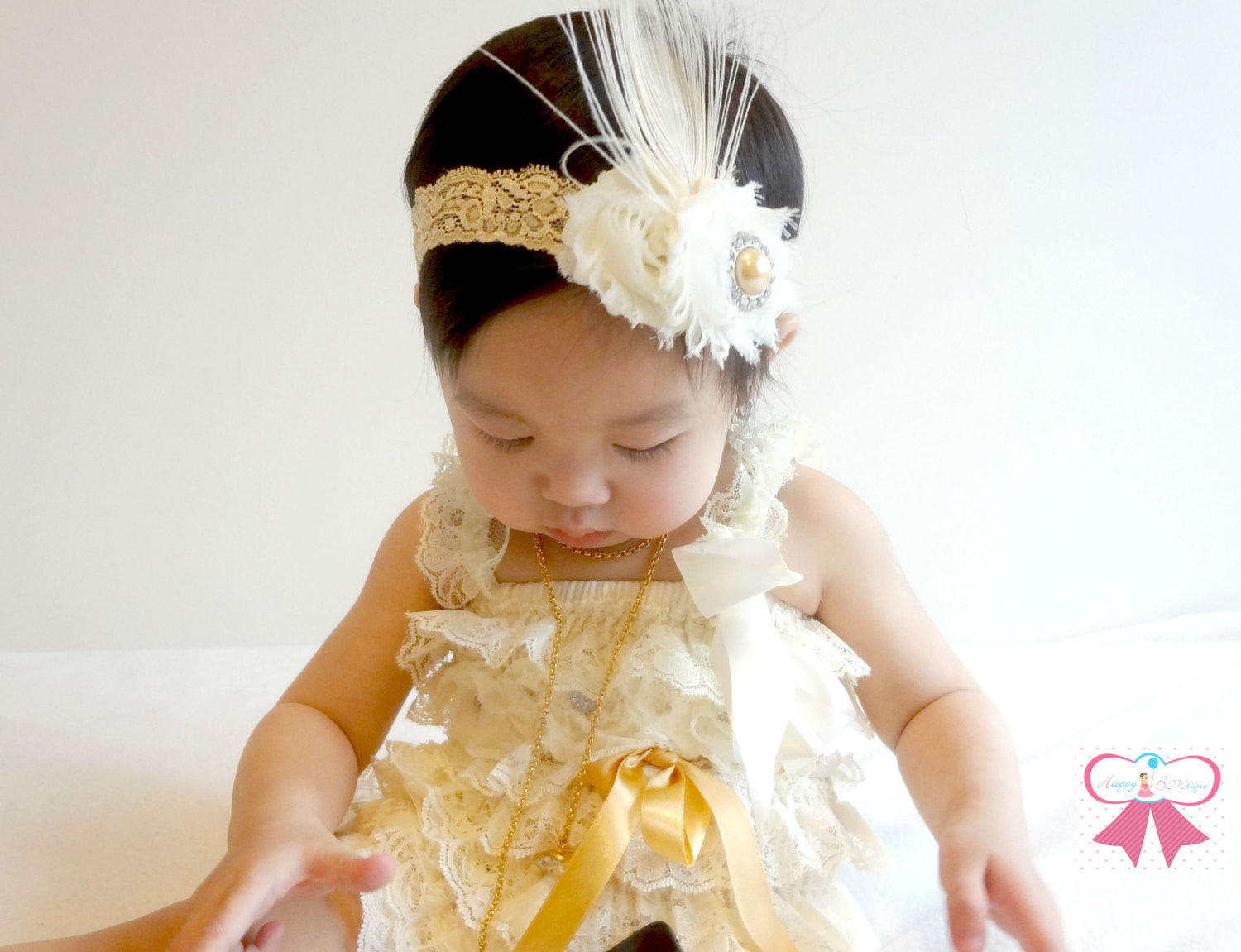 Ivory Champagne Lace Petti Romper set - Happy BOWtique - children's clothing, Baby Girl clothing