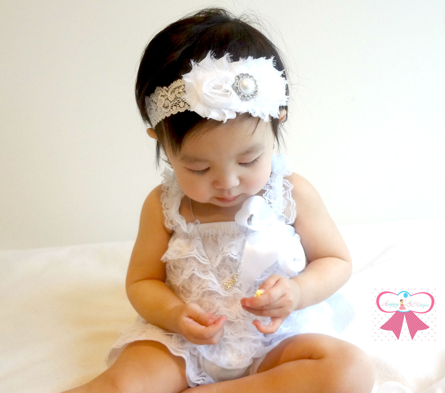f6a6504cd Lovely White Lace Petti Romper set \/ Happy BOWtique \/ Romper Sets