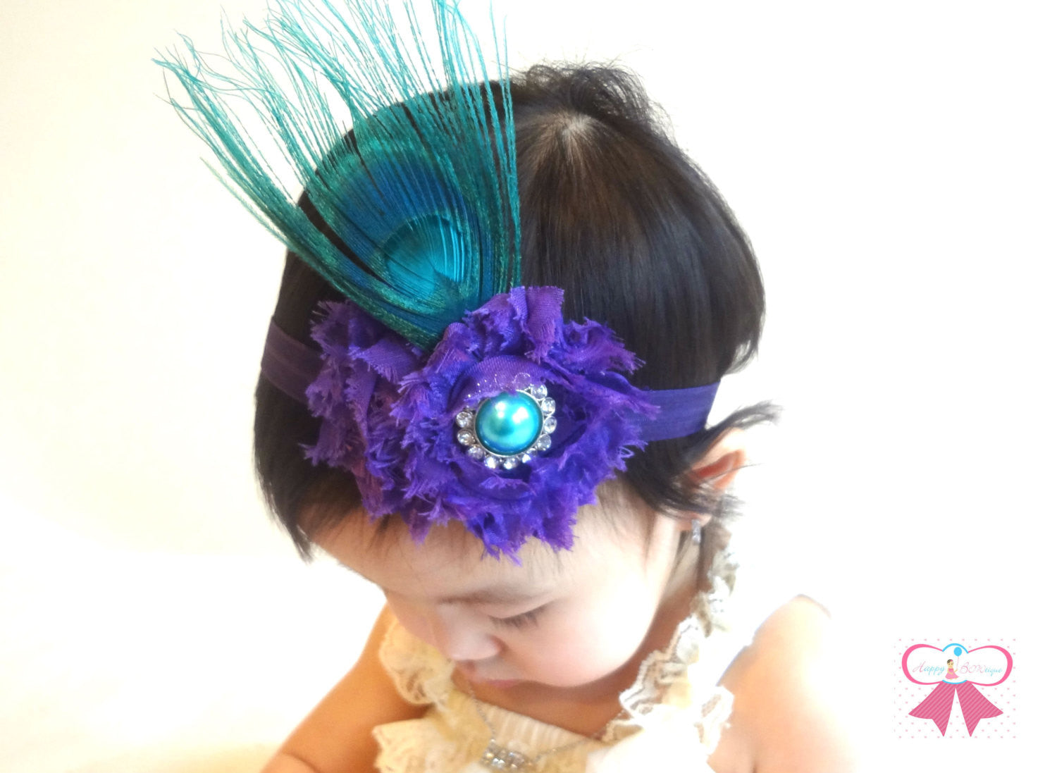 Teal and Purple Peacock Headband - Happy BOWtique - children's clothing, Baby Girl clothing
