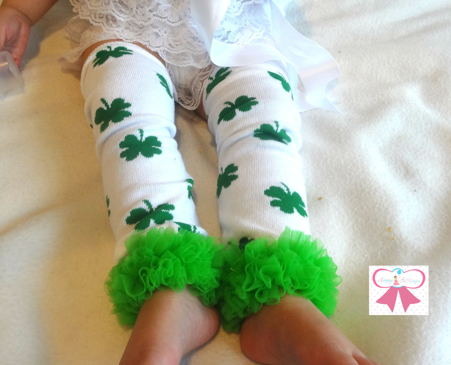 St Patty Leg Warmers and headband set, Green Clover leg warmers set, baby set, girls leg warmers, baby leg warmers - Happy BOWtique - children's clothing, Baby Girl clothing