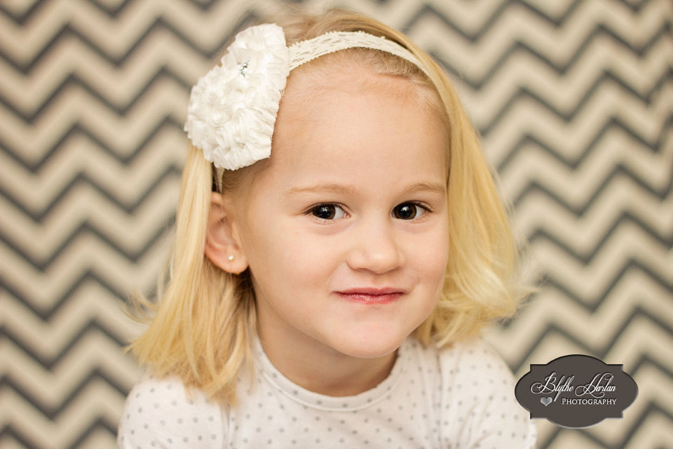 Valentine Headband, Off White/ Ivory Shabby heart headband - Happy BOWtique - children's clothing, Baby Girl clothing