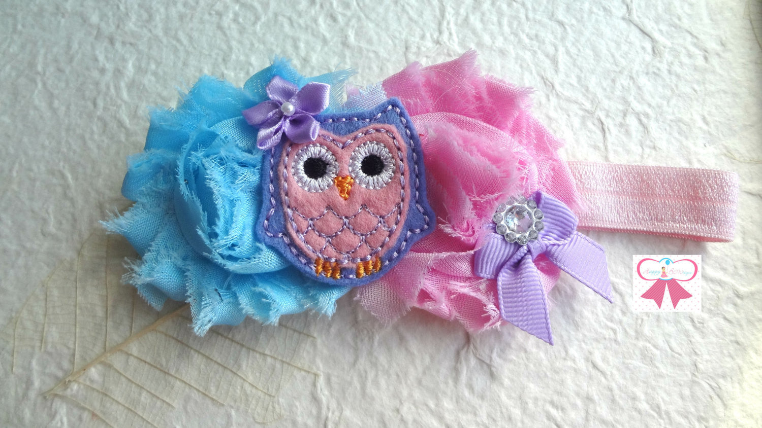 Easter headband/ Baby Girl's Owl Blue Pink headband - Happy BOWtique - children's clothing, Baby Girl clothing